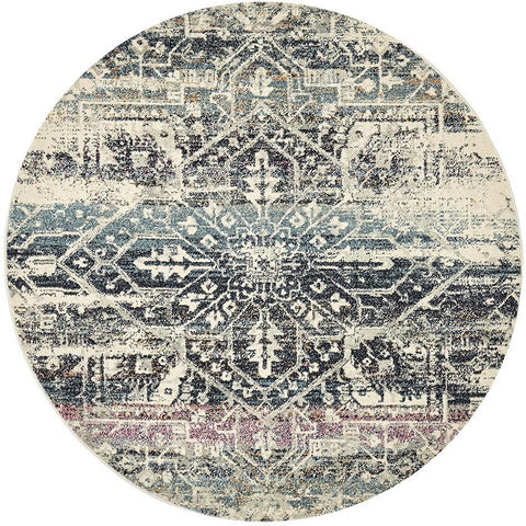 Adoni 155 Bohemian Blue Round Rug - Rugs Of Beauty - 1