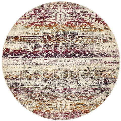 Adoni 155 Transitional Fuchsia Multi Coloured Round Rug - Rugs Of Beauty - 1