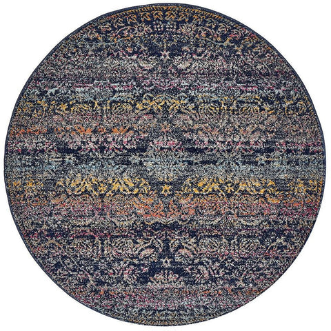 Adoni 156 Transitional Navy Blue Multi Coloured Round Rug - Rugs Of Beauty - 1