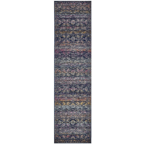 Adoni 156 Transitional Navy Blue Multi Coloured Runner Rug - Rugs Of Beauty - 1