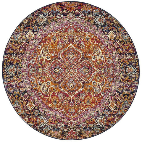 Adoni 157 Transitional Pink Rust Multi Coloured Round Rug - Rugs Of Beauty - 1