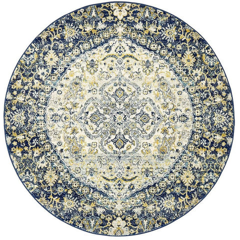 Adoni 157 Transitional Navy Blue Round Rug - Rugs Of Beauty - 1
