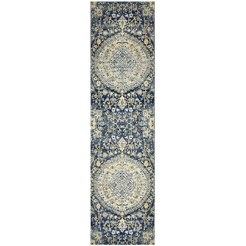 Adoni 157 Transitional Navy Blue Runner Rug - Rugs Of Beauty - 1