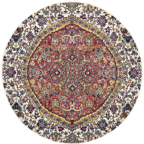 Adoni 157 Transitional Rust Beige Multi Coloured Round Rug - Rugs Of Beauty - 1