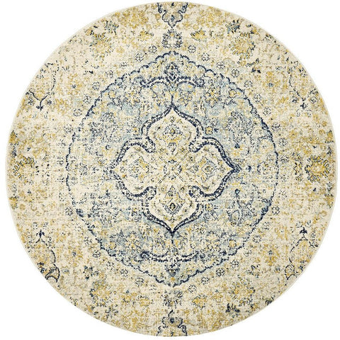 Adoni 157 Transitional Blue Beige Round Rug - Rugs Of Beauty - 1