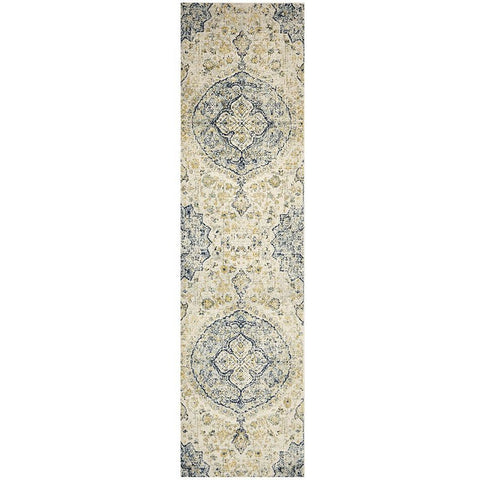 Adoni 157 Transitional Blue Beige Runner Rug - Rugs Of Beauty - 1