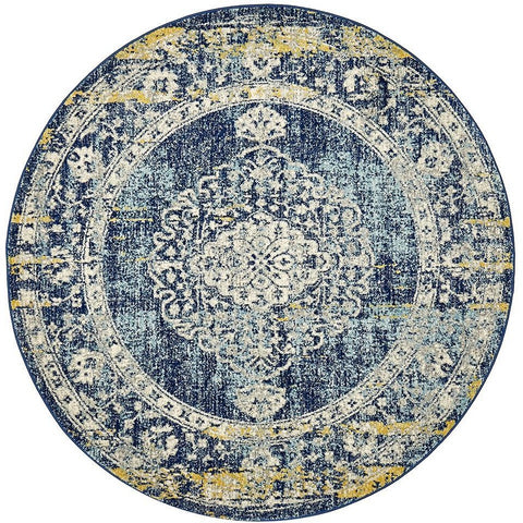 Adoni 159 Transitional Navy Blue Round Rug - Rugs Of Beauty - 1