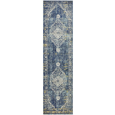 Adoni 159 Transitional Navy Blue Runner Rug - Rugs Of Beauty - 1