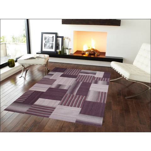 Woollen Patch Kilim Rug - Mirzapur 1037 - Purple - Rugs Of Beauty