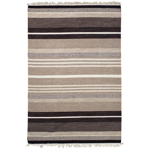 Loma Beige Stripe Patterned Wool Flatweave Kelim Rug - Rugs Of Beauty