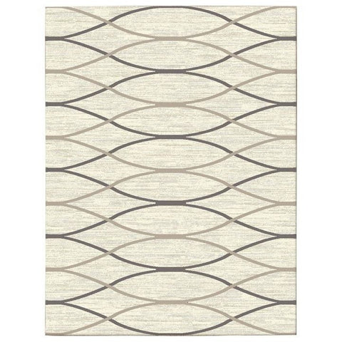 Caldwell Cream Thin Wave Abstract Patterned Modern Rug