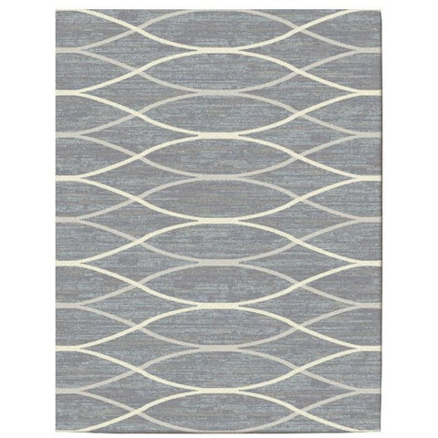 Caldwell Grey Thin Wave Abstract Patterned Modern Rug - 1