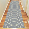 Caldwell Grey Thin Wave Abstract Patterned Modern Rug Runner