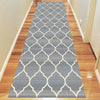 Caldwell Beige Lattice Grey Trellis Patterned Modern Rug Runner