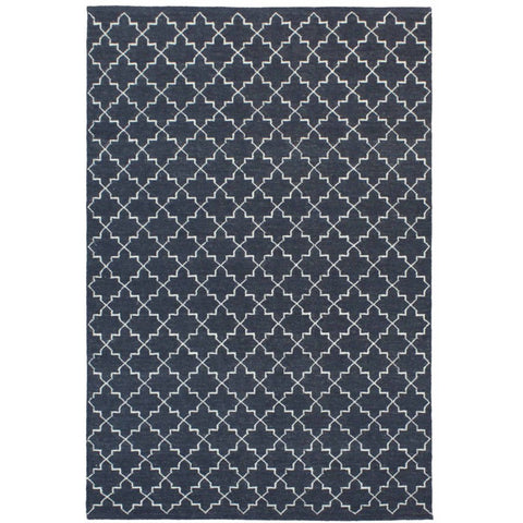 Serqet Black Moroccan Trellis Geometric Patterned Flatweave Wool Rug - Rugs Of Beauty