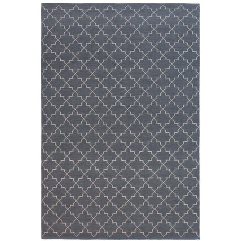Serqet Grey Moroccan Trellis Geometric Patterned Flatweave Wool Rug - Rugs Of Beauty