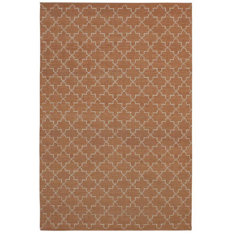 Serqet Orange Moroccan Trellis Geometric Patterned Flatweave Wool Rug - Rugs Of Beauty