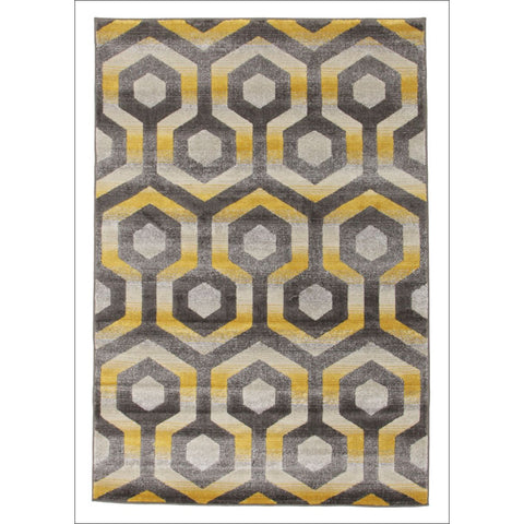 Irene Hive Modern Rug Yellow Grey - Rugs Of Beauty - 1