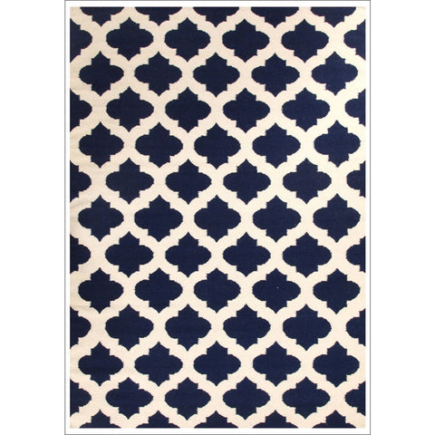 Flat Weave Quatrefoil Wool Rug Navy Ivory - Rugs Of Beauty