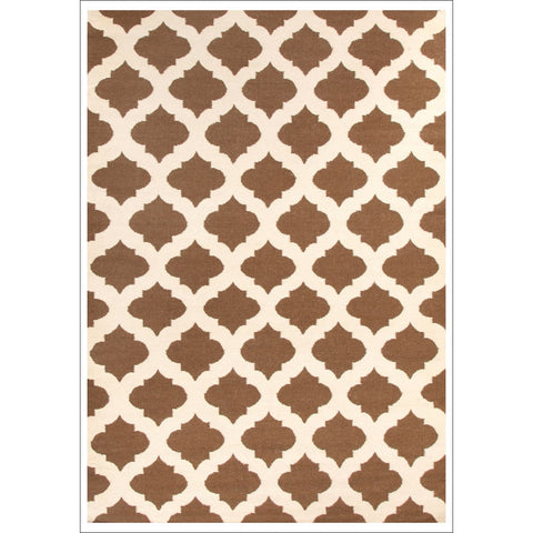 Flat Weave Quatrefoil Wool Rug Brown Ivory - Rugs Of Beauty - 1