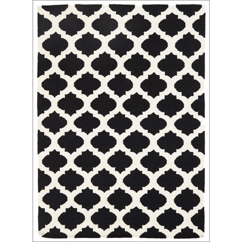 Flat Weave Quatrefoil Wool Rug Black White - Rugs Of Beauty - 1