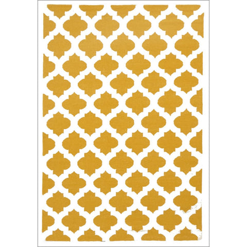 Flat Weave Quatrefoil Wool Rug Gold Ivory - Rugs Of Beauty