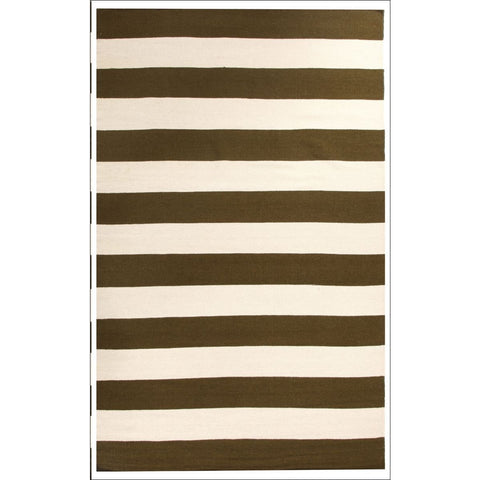 Flat Weave Stripe Olive White Wool Rug - Rugs Of Beauty