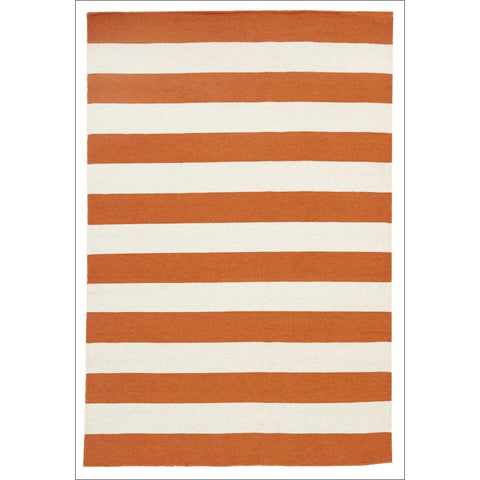 Flat Weave Stripe Orange White Wool Rug - Rugs Of Beauty