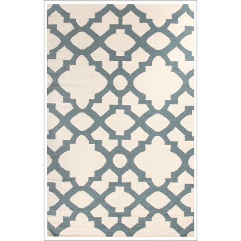 Flat Weave Trellis Design White Blue Patterned Rug - Rugs Of Beauty