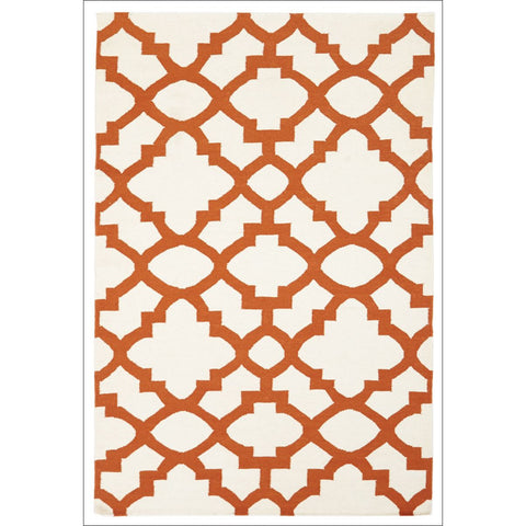 Flat Weave Trellis Design Orange White Rug - Rugs Of Beauty