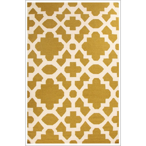 Flat Weave Trellis Design Green White Rug - Rugs Of Beauty