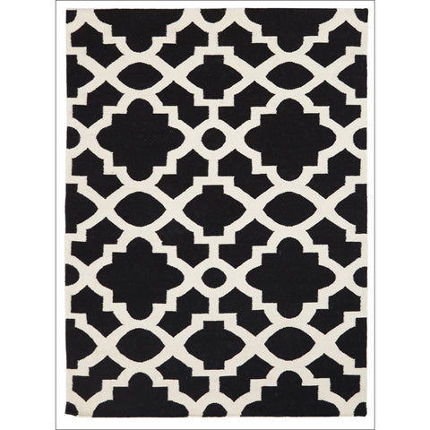 Flat Weave Trellis Design Black White Rug - Rugs Of Beauty
