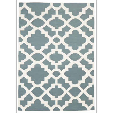 Flat Weave Trellis Design Blue White Patterned Rug - Rugs Of Beauty