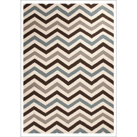 Flat Weave Chevron Design Rug Blue Brown - Rugs Of Beauty