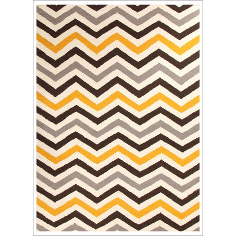 Flat Weave Design Rug Yellow Brown - Rugs Of Beauty - 1