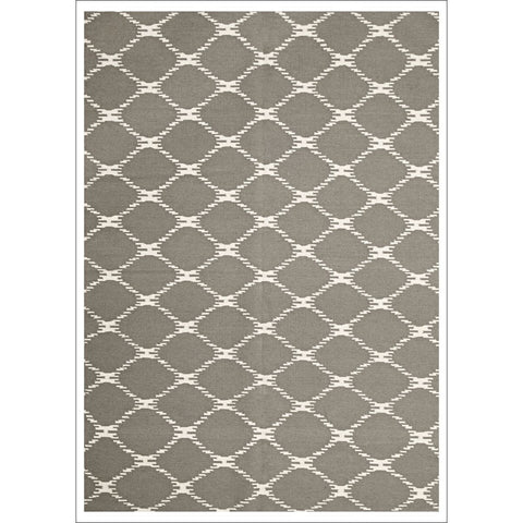 Flatweave Trellis Stitch Design Wool Rug Grey - Rugs Of Beauty