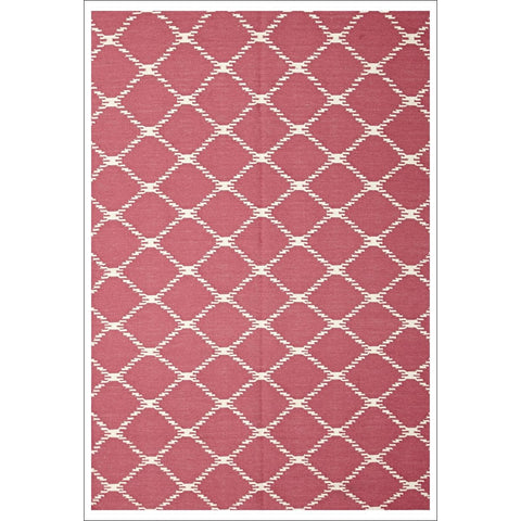 Flat Weave Trellis Stitch Design Wool Rug Pink - Rugs Of Beauty