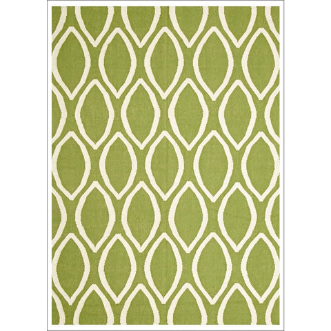 Flat Weave Oval Print Rug Green - Rugs Of Beauty