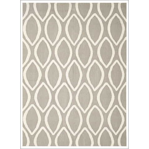 Flat Weave Kilim Oval Print Hand Knotted Rug Grey - Rugs Of Beauty