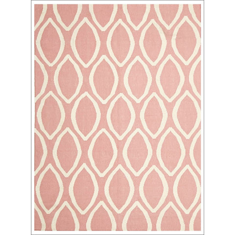 Flat Weave Oval Print Rug Pink - Rugs Of Beauty
