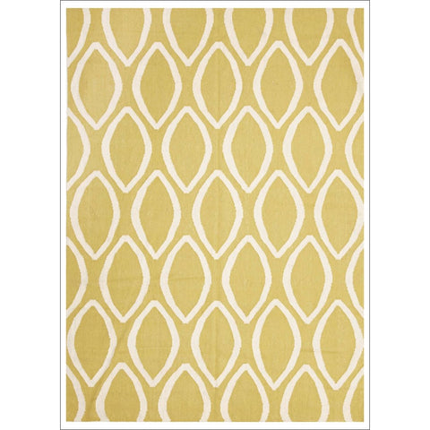 Flat Weave Oval Print Rug Yellow - Rugs Of Beauty - 1