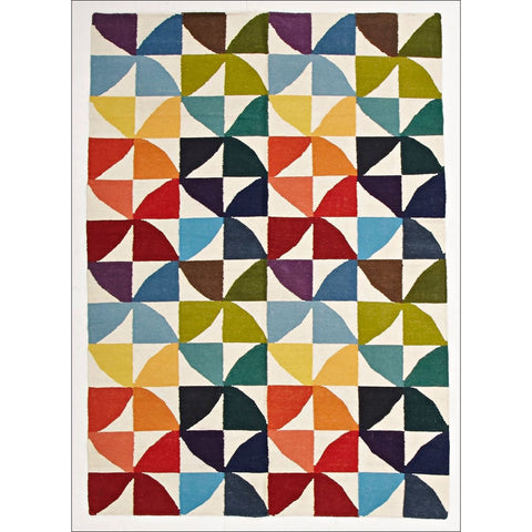 Flat Weave Fun Multi Coloured Designer Wool Rug - Rugs Of Beauty