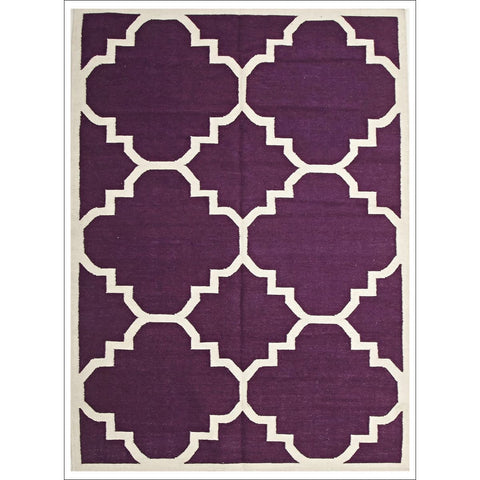 Flat Weave Large Moroccan Design Wool Rug Aubergine Purple - Rugs Of Beauty