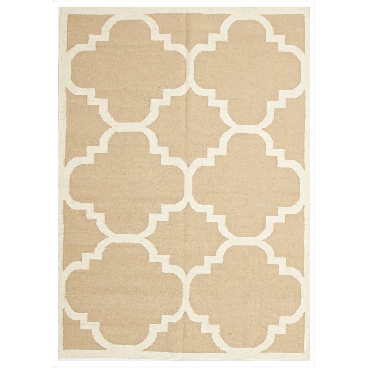 Hand Knotted Flat Weave Large Moroccan Design Wool Rug Beige
