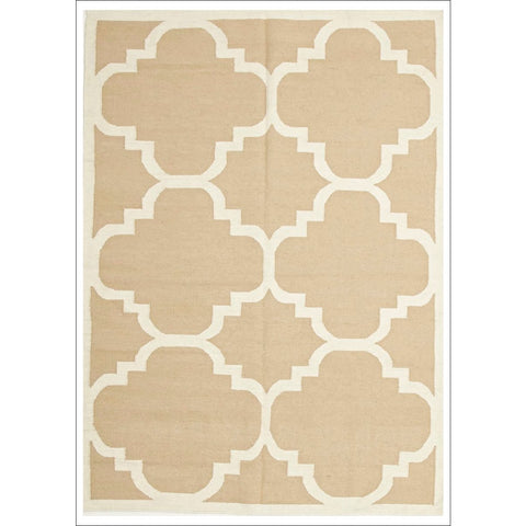 Hand Knotted Flat Weave Large Moroccan Design Wool Rug Beige - Rugs Of Beauty - 1