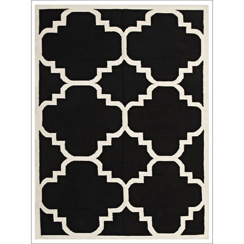 Flat Weave Large Moroccan Design Wool Rug Black - Rugs Of Beauty - 1