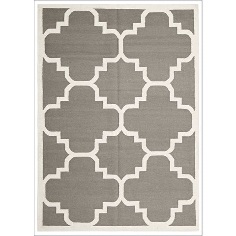 Flat Weave Large Moroccan Design Wool Rug Grey - Rugs Of Beauty - 1