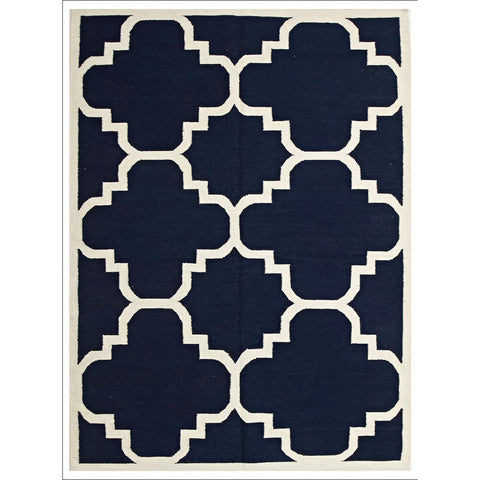 Flat Weave Hand Knotted Large Moroccan Design Wool Rug Navy - Rugs Of Beauty