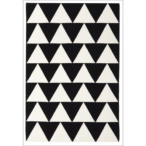 Pyramid Flat Weave Rug Black - Rugs Of Beauty