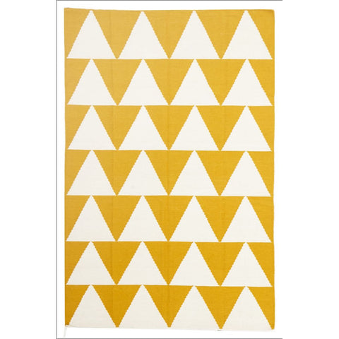 Pyramid Flat Weave Rug Yellow - Rugs Of Beauty